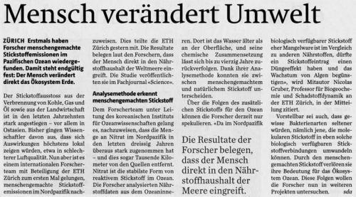 Mensch verändert Umwelt: Zürcher-Oberländer/ Anzeiger von Uster, Uster, Dienstag, 2. Dezember 2014