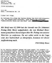 Luc Bürgin – Schmierenartikel 01: Über den von Luc Bürgin/Basel im UFO-Kurier Nr. 18/April 1996 über die Billy-Meier-Story veröffentlichte Schmierenartikel.