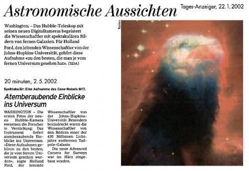Tagesanzeiger 22.01.2002 und 20min vom 02.05.2002